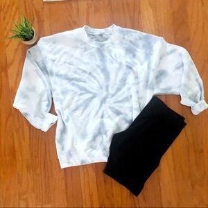 NEW Gray Tie dye sweatshirt biker shorts SET S-3X